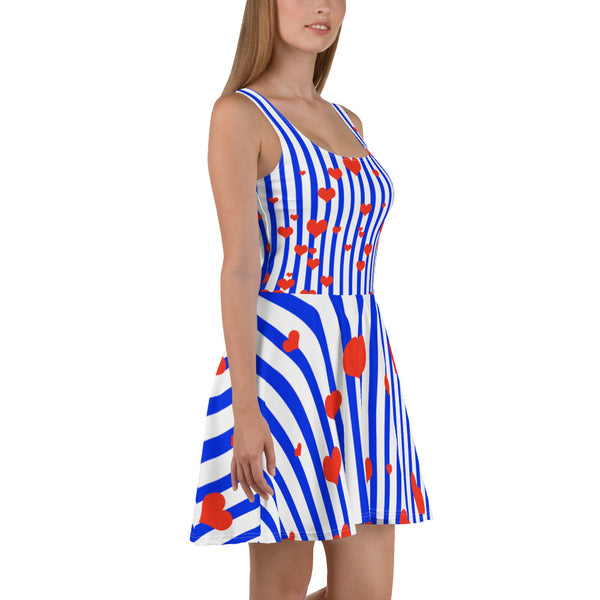 Blue + White Striped Women's Long Premium A-line Skater Dress Sizes XS-3XL - Made in Europe-Skater Dress-Heidi Kimura Art LLC Blue Striped Women's Skater Dress, Blue + White Striped with Hearts Women's A-line Skater Dress Sizes XS-3XL - Made in Europe (US Size: XS-3XL)