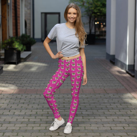 Hot Pink Calico Cat Meow Print Women's Yoga Casual Leggings- Made in USA/EU--Heidi Kimura Art LLC Hot Pink Cat Leggings, Peanut Meow Calico Cat Print Women's Long Dressy Casual Fashion Leggings/ Running Tights - Made in USA/ EU (US Size: XS-XL)