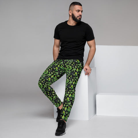 Black Maidenhair Men's Joggers, Green Best Designer Tropical Leaf Print Modern Slim-Fit Designer Ultra Soft & Comfortable Men's Joggers, Men's Jogger Pants-Made in EU/MX (US Size: XS-3XL)