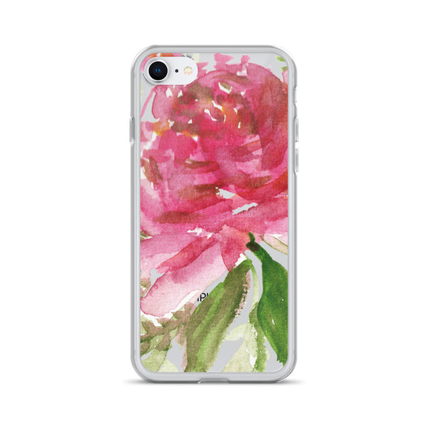 Happiness Clear Floral Girlie Pink, iPhone X | XS | XR | XS Max | 8 | 8+ | 7| 7+ |6/6S | 6+/6S+ Case- Made in USA-Phone Case-iPhone 7/8-Heidi Kimura Art LLC