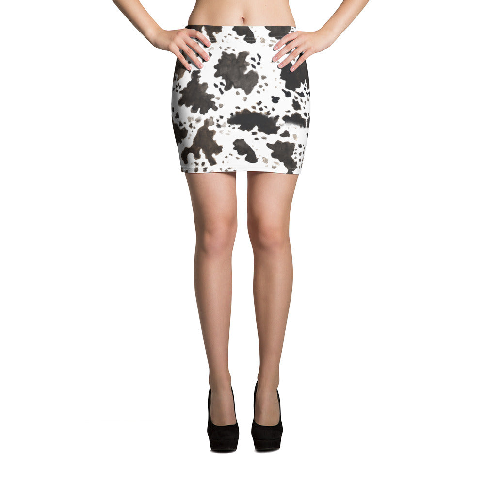 Cow Print Women's Stretchy Soft Mid-Thigh Length Microfiber Mini Skirt, Made in USA-Mini Skirt-XS-Heidi Kimura Art LLC