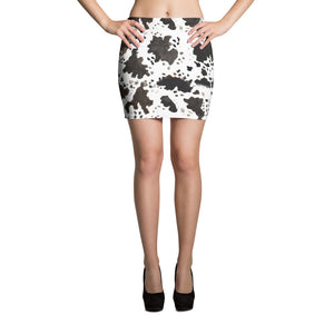 Kanoko Cow Print Women's Designer Stretchy Soft Mid-Thigh Length Microfiber Elastic Waistband Mini Skirt, Made in USA/ Europe (Size: XS-XL)