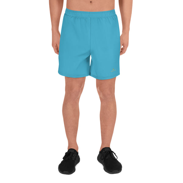 Sky Blue Solid Color Print Men's Athletic Long Shorts - Made in Europe (US Size: XS-3XL)-Men's Long Shorts-XS-Heidi Kimura Art LLC