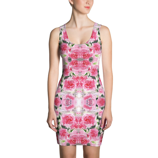 Pink Roses Floral Print Dress, Best Rose Flower Designer Dress-Made in USA/EU-Heidi Kimura Art LLC-XS-Heidi Kimura Art LLC Pink Abstract Floral Women's Dress, Spring Pink Rose Floral Print Women's Long Sleeveless Designer Premium Dress - Made in USA/EU (US Size: XS-XL)