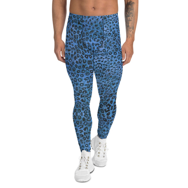 Blue Leopard Men's Leggings, Animal Print Meggings Compression Tights-Heidikimurart Limited -XS-Heidi Kimura Art LLC Blue Leopard Print Men's Leggings, Animal Print Leopard Modern Meggings, Men's Leggings Tights Pants - Made in USA/EU/MX (US Size: XS-3XL) Sexy Meggings Men's Workout Gym Tights Leggings