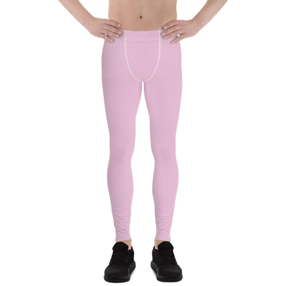 Light Ballet Pink Solid Color Print Premium Men's Leggings Meggings- Made in USA/EU-Men's Leggings-XS-Heidi Kimura Art LLC