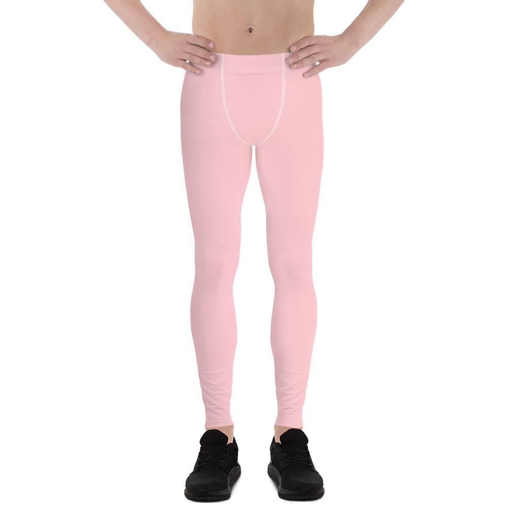 Light Pink Solid Color Premium Men's Leggings Meggings Activewear Pants- Made in USA-Men's Leggings-XS-Heidi Kimura Art LLC