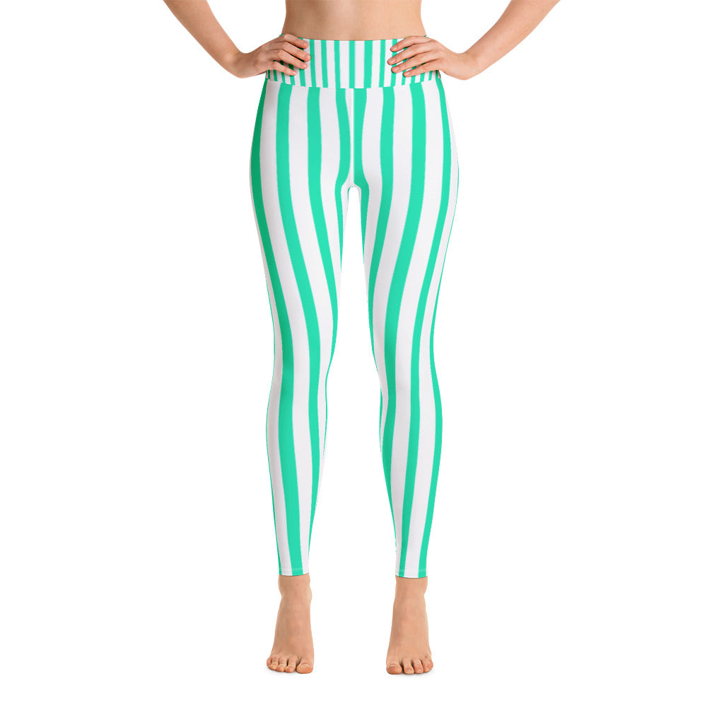 Women's Turquoise & White Stripe Active Wear Fitted Leggings - Made in USA-Leggings-XS-Heidi Kimura Art LLC