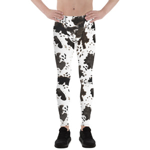 Cow Print Men's Running Leggings & Run Tights Meggings Activewear- Made in USA/EU-Men's Leggings-XS-Heidi Kimura Art LLC