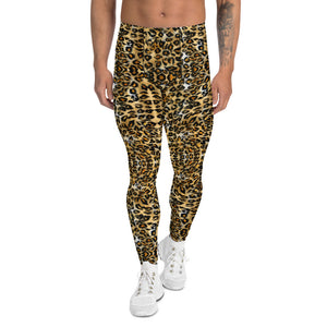 Brown Leopard Print Men's Leggings, Leopard Animal Print Meggings-Heidikimurart Limited -XS-Heidi Kimura Art LLC Brown Leopard Print Men's Leggings, Luxury Leopard Animal Print Modern Meggings, Men's Leggings Tights Pants - Made in USA/EU/MX (US Size: XS-3XL) Sexy Meggings Men's Workout Gym Tights Leggings