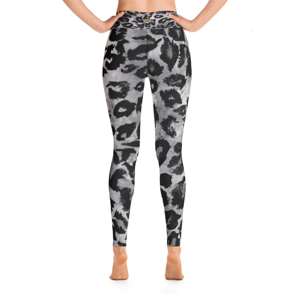 Women's Grey Leopard Animal Pattern Active Wear Fitted Leggings Sports Long Pants-Leggings-Heidi Kimura Art LLC Grey Leopard Women's Yoga Pants, Women's Grey Leopard Animal Print Pattern Active Wear Fitted Leggings Sports Long Yoga & Barre Pants - Made in USA/EU (US Size S-XL)