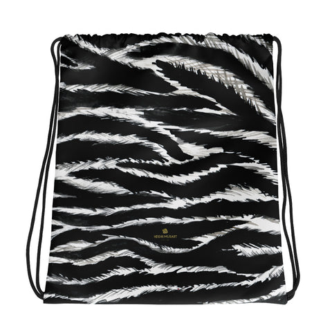 "Chic Black White Zebra Animal Print 15""x17"" Designer Drawstring Bag- Made in USA/EU-Drawstring Bag-Heidi Kimura Art LLC"