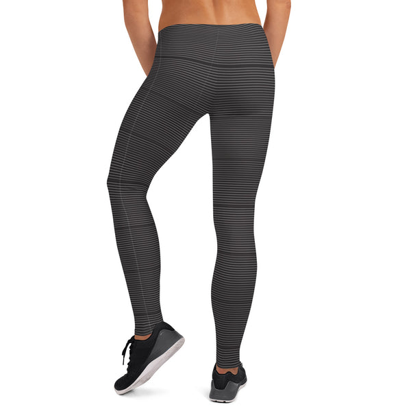 Black Striped Women's Fancy Leggings, Modern Ladies Casual Tights- Made in USA/ EU-Heidikimurart Limited -Heidi Kimura Art LLC