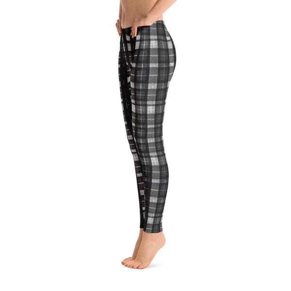 Black Plaid Print Women's Long Dressy Casual Leggings/ Running Tights-Made in USA/EU-Casual Leggings-Heidi Kimura Art LLC Black Plaid Women's Leggings, Black Plaid Tartan Print Women's Long Dressy Casual Fashion Leggings/ Running Tights - Made in USA/ EU (US Size: XS-XL)