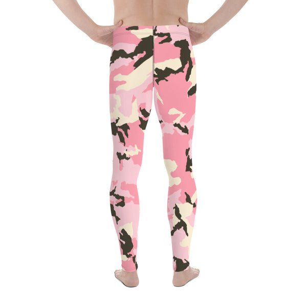 Light Pink Camo Camouflage Military Army Abstract Print Sexy Meggings-Made in USA/EU-Men's Leggings-Heidi Kimura Art LLC