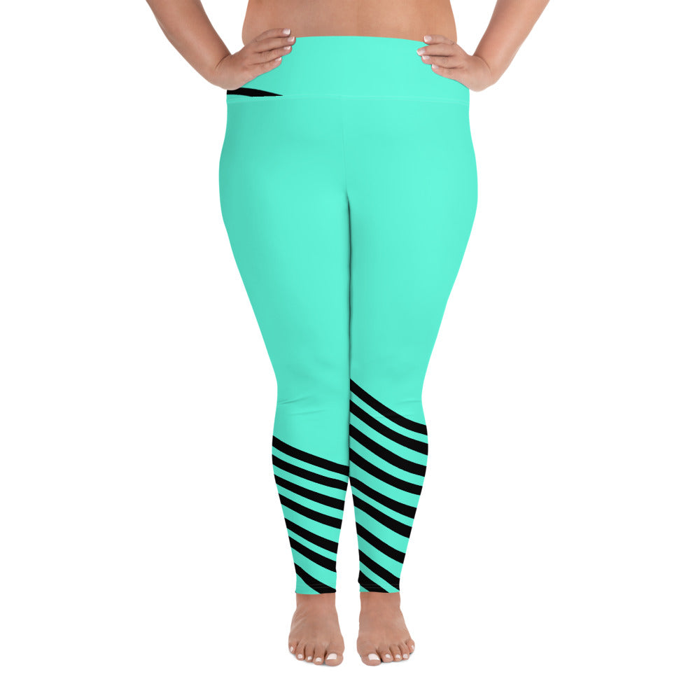 Turquoise Blue Black Diagonal Stripe Women's Yoga Pants Plus Size Yoga Leggings-Women's Plus Size Leggings-2XL-Heidi Kimura Art LLC Turquoise Blue Striped Leggings, Turquoise Blue Black Diagonal Stripe Women's Yoga Pants Plus Size Yoga Leggings - Made in USA/EU (US Size: 2XL-6XL)