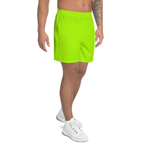 Neon Green Men's Shorts, Black Solid Color Print Premium Quality Men's Athletic Long Fashion Shorts, Slim-Fit Athletic Long Shorts With Mesh Pockets  (US Size: XS-3XL) Made in Europe