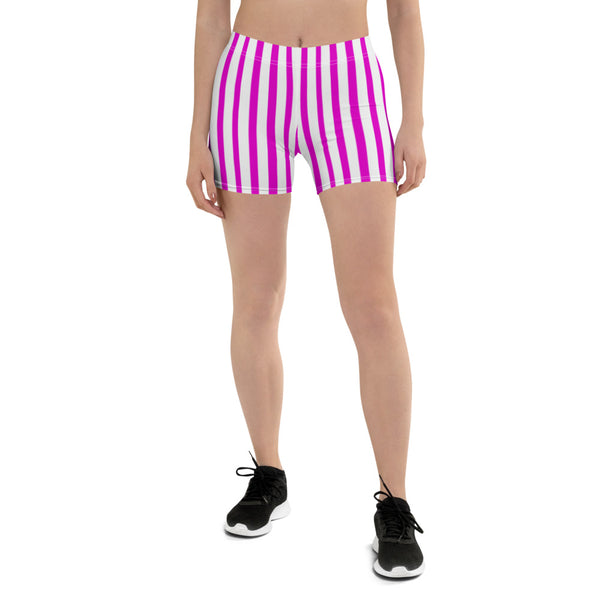Hot Pink Workout Women's Shorts, Striped Designer Exercise Short Tights-Heidikimurart Limited -Heidi Kimura Art LLCHot Pink Striped Women's Shorts, Best Pink and White Vertical Stripes Designer Women's Elastic Stretchy Shorts Short Tights -Made in USA/EU/MX (US Size: XS-3XL) Plus Size Available, Gym Tight Pants, Pants and Tights, Womens Shorts, Short Yoga Pants