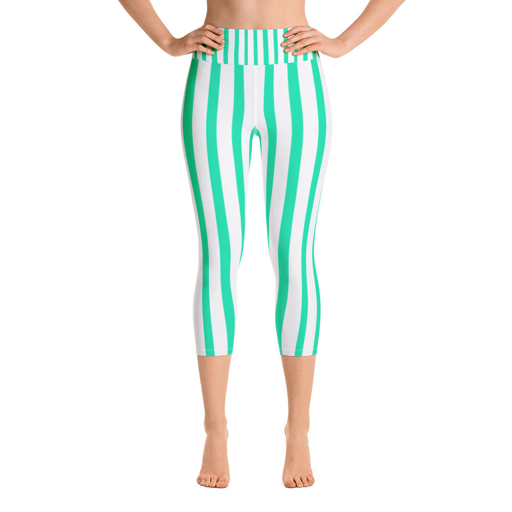 Turquoise Blue Vertical Striped Women's Yoga Capri Pants Leggings- Made in USA-Capri Yoga Pants-XS-Heidi Kimura Art LLC