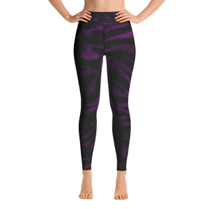 Purple Tiger Striped Women's Leggings, Animal Print Sports Long Yoga Pants- Made in USA/EU-Leggings-XS-Heidi Kimura Art LLC Purple Tiger Women's Leggings, Purple Animal Tiger Striped Workout Fitted Women's Leggings Sports Long Yoga Pants With Pockets - Made in USA/EU (US Size: XS-XL)