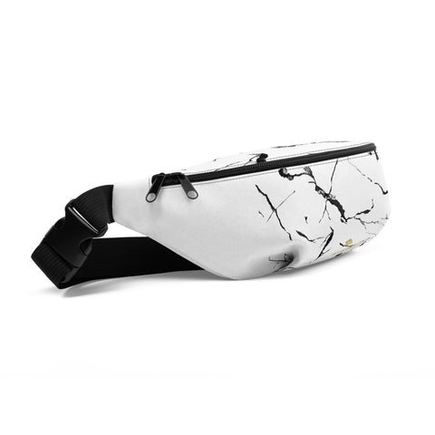 White Marble Print Unisex Designer Fanny Pack Over the Shoulder Bag- Made in USA/EU-Fanny Pack-Heidi Kimura Art LLC
