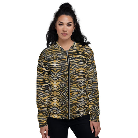 Brown Tiger Stripe Bomber Jacket, Animal Print Unisex Jacket-Heidi Kimura Art LLC-XS-Heidi Kimura Art LLC Brown Tiger Stripe Bomber Jacket, Animal Print Premium Quality Modern Unisex Jacket For Men/Women With Pockets-Made in EU