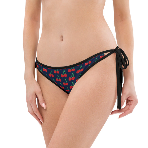 Red Cherries Bikini Bottom, Navy Blue 1-pc Premium Women's Swimwear-Made in USA/EU-Bikini Bottom-Printful-Heidi Kimura Art LLC