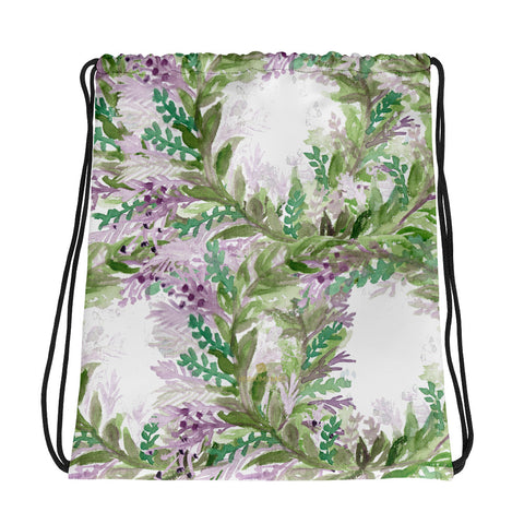 "White Lavender Floral Print Premium Drawstring Bag-Made in USA/EU--Heidi Kimura Art LLCWhite Lavender Drawstring Bag, Black Pink Star Pattern White Print Women's 15""x17"" Designer Premium Quality Best Drawstring Bag-Made in USA/Europe"