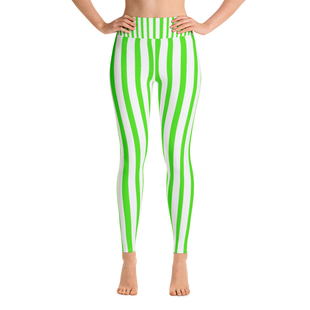 Women's Green & White Stripe Print Stretchy Comfy Long Yoga Pants - Made in USA-Leggings-XS-Heidi Kimura Art LLC Green Striped Women's Yoga Pants, Women's Neon Green & White Stripe Active Wear Fitted Leggings Sports Long Yoga & Barre Pants, Festive Leggings - Made in USA (US Size: XS-XL)
