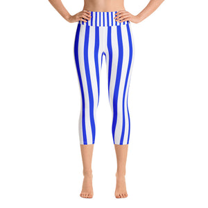 Blue Vertical Striped Women's Yoga Capri Pants Leggings With Pockets - Made In USA/EU-Capri Yoga Pants-XS-Heidi Kimura Art LLC