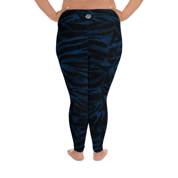 Royal Blue Tiger Stripe Animal Print Women's Long Yoga Pants Plus Size Leggings-Women's Plus Size Leggings-Heidi Kimura Art LLC