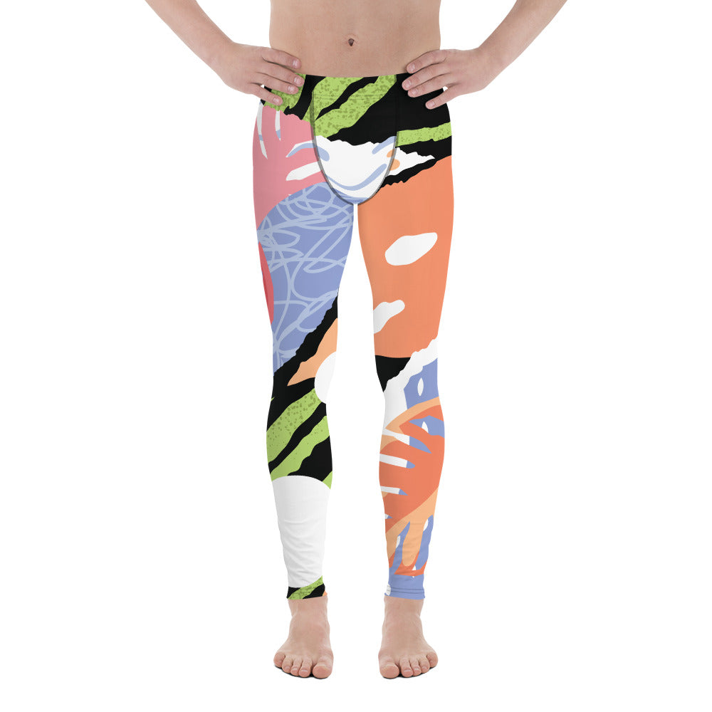 Green Tiger Stripe Tropical Leaf Print Summer Men's Leggings Tights Pants- Made in USA/EU-Men's Leggings-XS-Heidi Kimura Art LLC Tropical Meggings, Green Tiger Stripe Tropical Leaf Print Summer Men's Leggings Tights Pants- Made in USA/EU (US Size: XS-3XL)