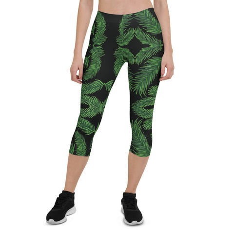 Green Palm Leaf Capri Leggings, Women's Tropical Leaves Women's Tights-Made in USA/EU-Heidi Kimura Art LLC-XS-Heidi Kimura Art LLCGreen Palm Leaf Capri Leggings, Women's Tropical Leaves Hawaiian Style Capri Leggings, Marble Print Women's Capri Designer Spandex Dressy Casual Fashion Leggings - Made in USA/EU (US Size: XS-XL)
