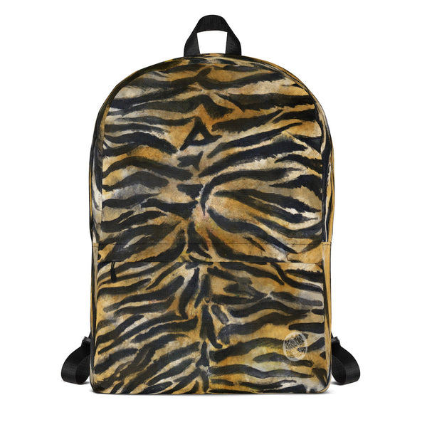 Tiger Striped Print Laptop Backpack, Animal Print Medium Size Travel Bag-Made in USA/EU-Backpack-Heidi Kimura Art LLC