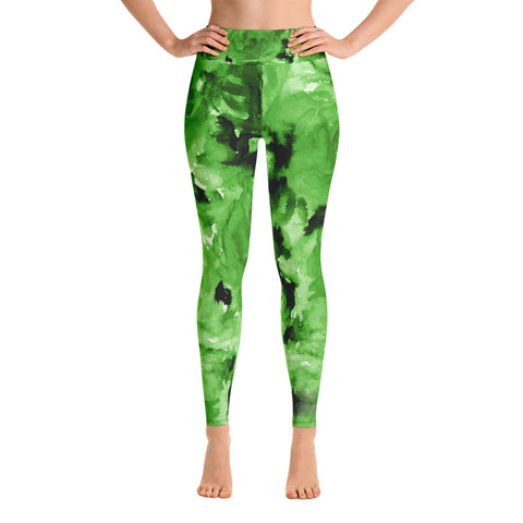 Lime Green Abstract Rose Floral Print Women's Yoga Leggings- Made in USA-Leggings-XS-Heidi Kimura Art LLC Green Floral Rose Women's Leggings, Lime Green Abstract Rose Floral Ocean Print Women's Yoga Leggings/ Long Yoga Pants - Made in USA/EU (US Size: XS-XL)