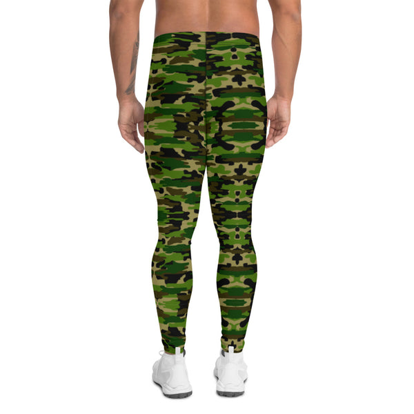 Green Camo Print Men's Leggings-Heidikimurart Limited -Heidi Kimura Art LLCGreen Camo Print Meggings, Camouflage Military Green Army Print Men's Yoga Pants Running Leggings & Fetish Tights/ Rave Party Costume Meggings, Compression Pants- Made in USA/ Europe/ MX (US Size: XS-3XL) Green Camo Men's Leggings, Compression Pants, Green Camo Men Workout Tights, Camo Leggings