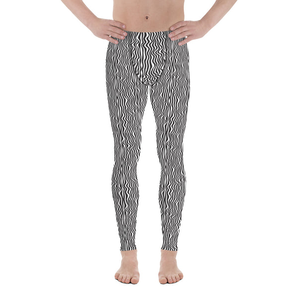 Wavy Black White Meggings, Curvy Patterned Men's Leggings-Heidikimurart Limited -Heidi Kimura Art LLC Wavy Black White Meggings, Curvy Patterned Print Meggings, Monochrome Classic Sexy Meggings Men's Workout Gym Tights Leggings, Men's Compression Tights Pants - Made in USA/ EU/ MX (US Size: XS-3XL)