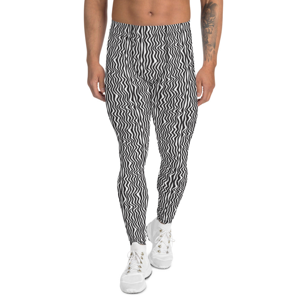 Wavy Black White Meggings, Curvy Patterned Men's Leggings-Heidikimurart Limited -XS-Heidi Kimura Art LLC Wavy Black White Meggings, Curvy Patterned Print Meggings, Monochrome Classic Sexy Meggings Men's Workout Gym Tights Leggings, Men's Compression Tights Pants - Made in USA/ EU/ MX (US Size: XS-3XL)