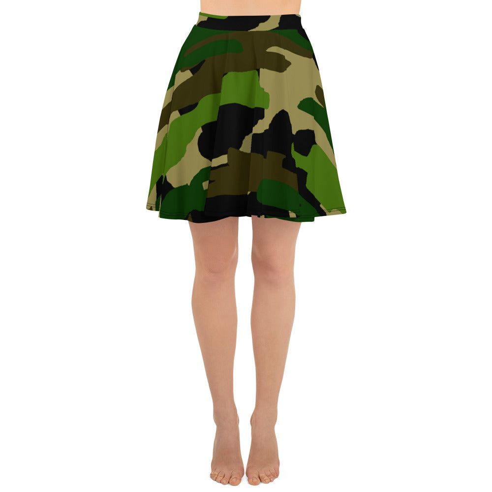 Green Camouflage Military Army Print Premium Women's Skater Skirt - Made in USA/ EU-Skater Skirt-XS-Heidi Kimura Art LLC
