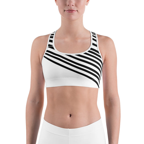 Classic White Black Diagonal Stripe Print Women's Sports Fitness Bra-Made in USA/EU-Sports Bras-White-XS-Heidi Kimura Art LLC