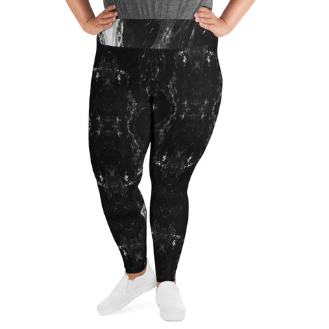 Black Marble Plus Size Leggings, Marbled Print Women's Yoga Pants-Made in USA/EU-Heidi Kimura Art LLC-Heidi Kimura Art LLC Black Marbled Plus Size Leggings, Abstract Marble Print Women's Leggings Plus Size, Women's Yoga Pants Long Plus Size Leggings - Made in USA/EU (US Size: 2XL-6XL)
