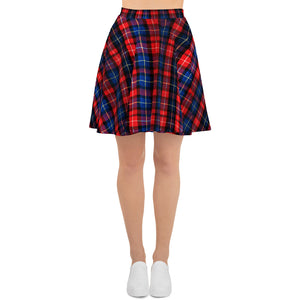 Christmas Red Plaid Tartan Scottish Print High-Waisted Women's Skater Skirt - Made In Europe-Skater Skirt-XS-Heidi Kimura Art LLC