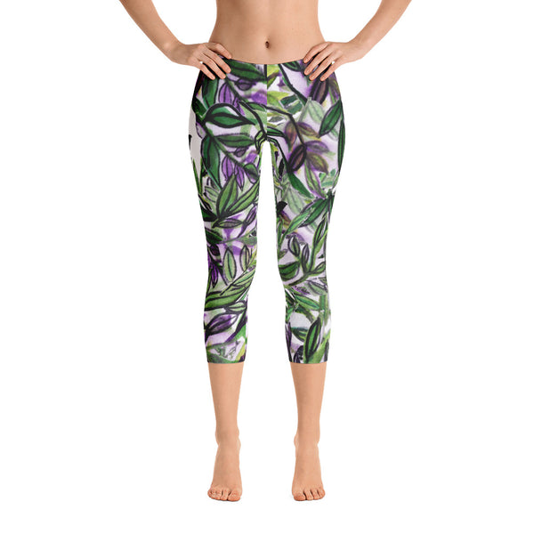 Green Tropical Leaves Capri Leggings Casual Activewear For Women - Made in USA-capri leggings-Heidi Kimura Art LLC