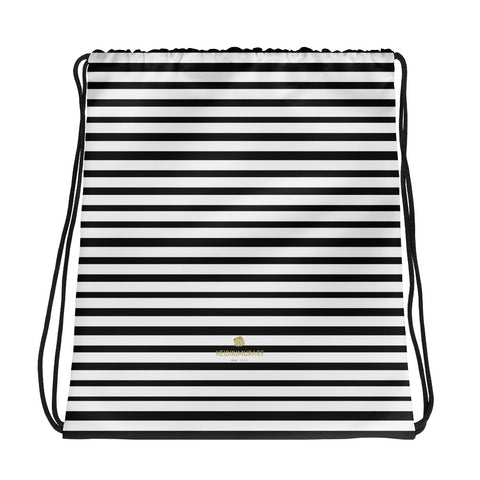 "Black White Modern Stripe Print Designer 15""x17"" Drawstring Bag- Made in USA/EU-Drawstring Bag-Heidi Kimura Art LLC"