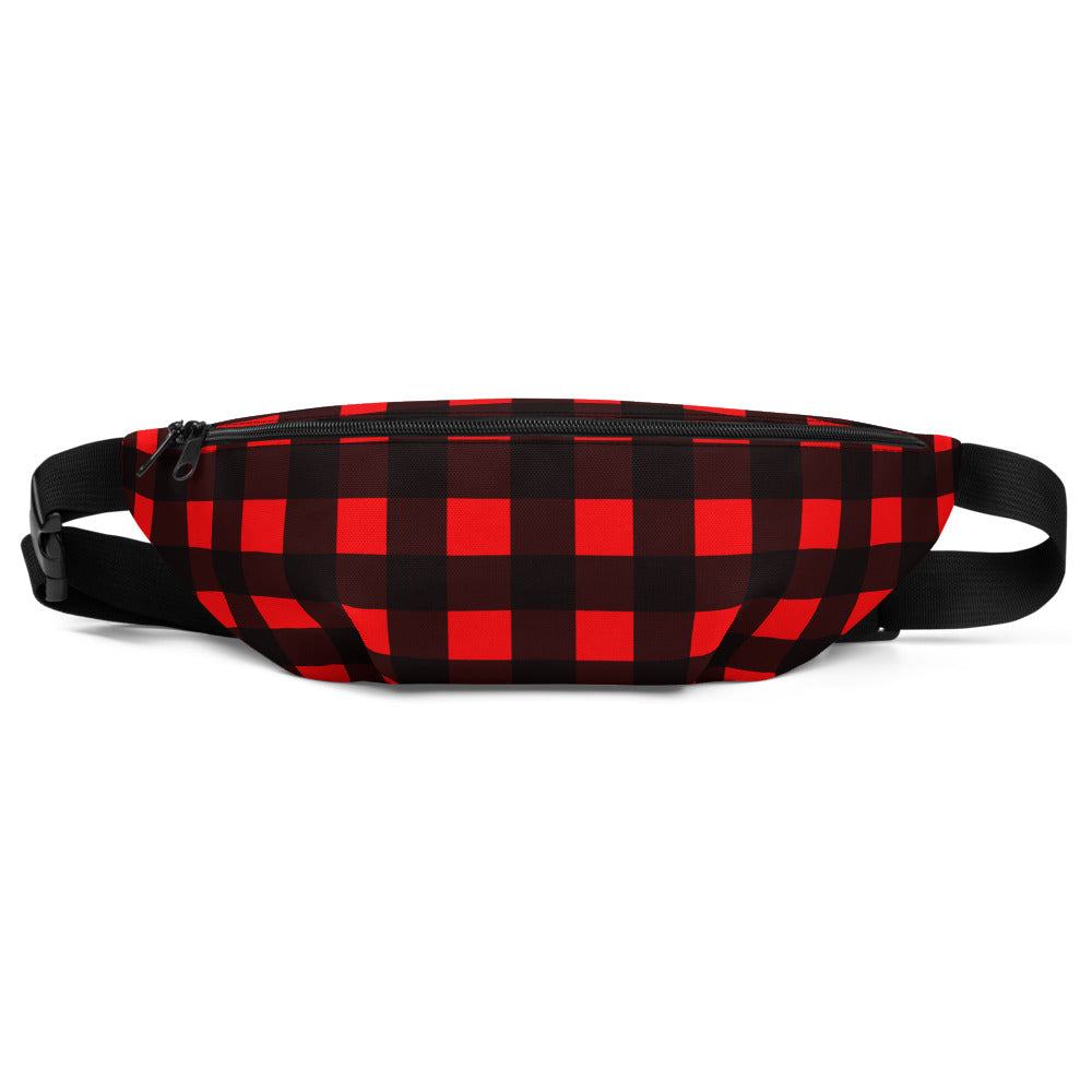 Red Buffalo Plaid Print Canadian Style Belt Bag Fanny Pack Belt Waist Bag- Made in USA-Fanny Pack-S/M-Heidi Kimura Art LLC