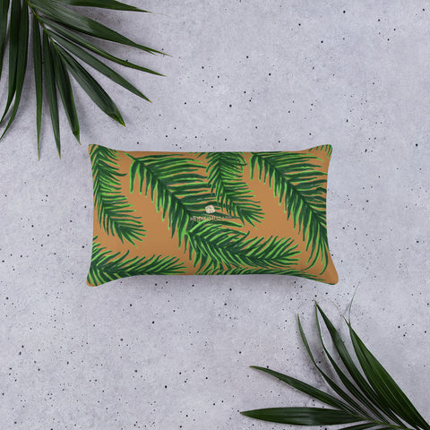 Green Brown Jungle Style Tropical Palm Leaf Print Designer Basic Pillow-Made in USA-Pillow-Heidi Kimura Art LLC