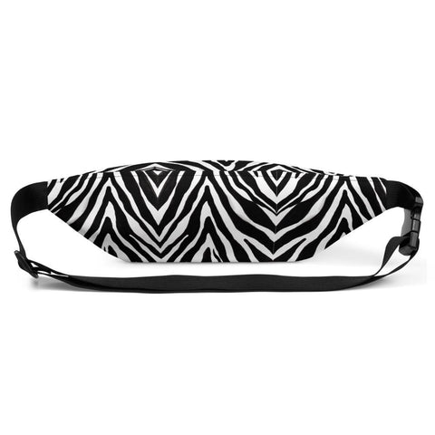 Stylish Black White Zebra Animal Print Designer Fanny Pack Cross Body Bum Bag- Made in USA/EU-Fanny Pack-Heidi Kimura Art LLC