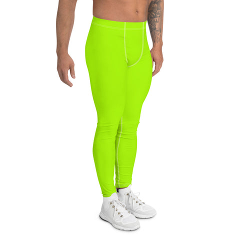 Neon Green Men's Leggings, Bright Premium Rave Meggings-Made in USA/EU-Heidi Kimura Art LLC-Heidi Kimura Art LLC Neon Green Men's Leggings, Bright Premium Fun Rave Modern Minimalist Solid Color Print Premium Classic Elastic Comfy Men's Leggings Fitted Tights Pants - Made in USA/EU (US Size: XS-3XL) Spandex Meggings Men's Workout Gym Tights Leggings, Compression Tights, Kinky Fetish Men Pants