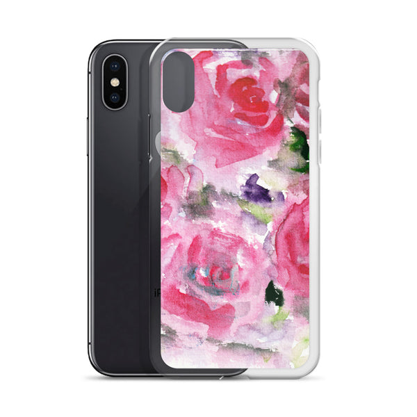 Hot Pink French Rose Floral Print iPhone X | XS | XR | XS Max | 8 | 8+ | 7| 7+ |6/6S | 6+/6S+ Case- Made in USA-Phone Cases-Heidi Kimura Art LLC