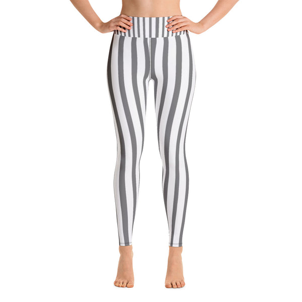 Women's White Gray Stripe Long Yoga & Barre Pants - Made in USA (US Size: XS-XL)-Leggings-XS-Heidi Kimura Art LLC